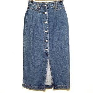 Vintage Denim Midi Skirt Button Through Front Slit